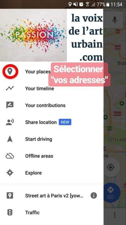 tutoriel d'utilisation de la carte street art paris sur mobile avec google maps