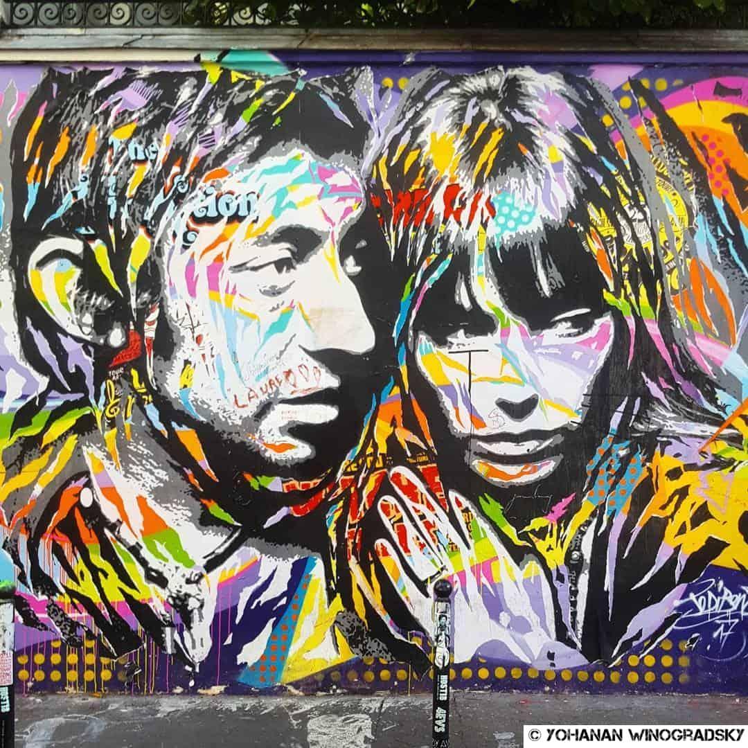 streetart paris par jodibona rue de verneuil à paris, serge gainsbourg et jane birkin je t'aime moi non plus