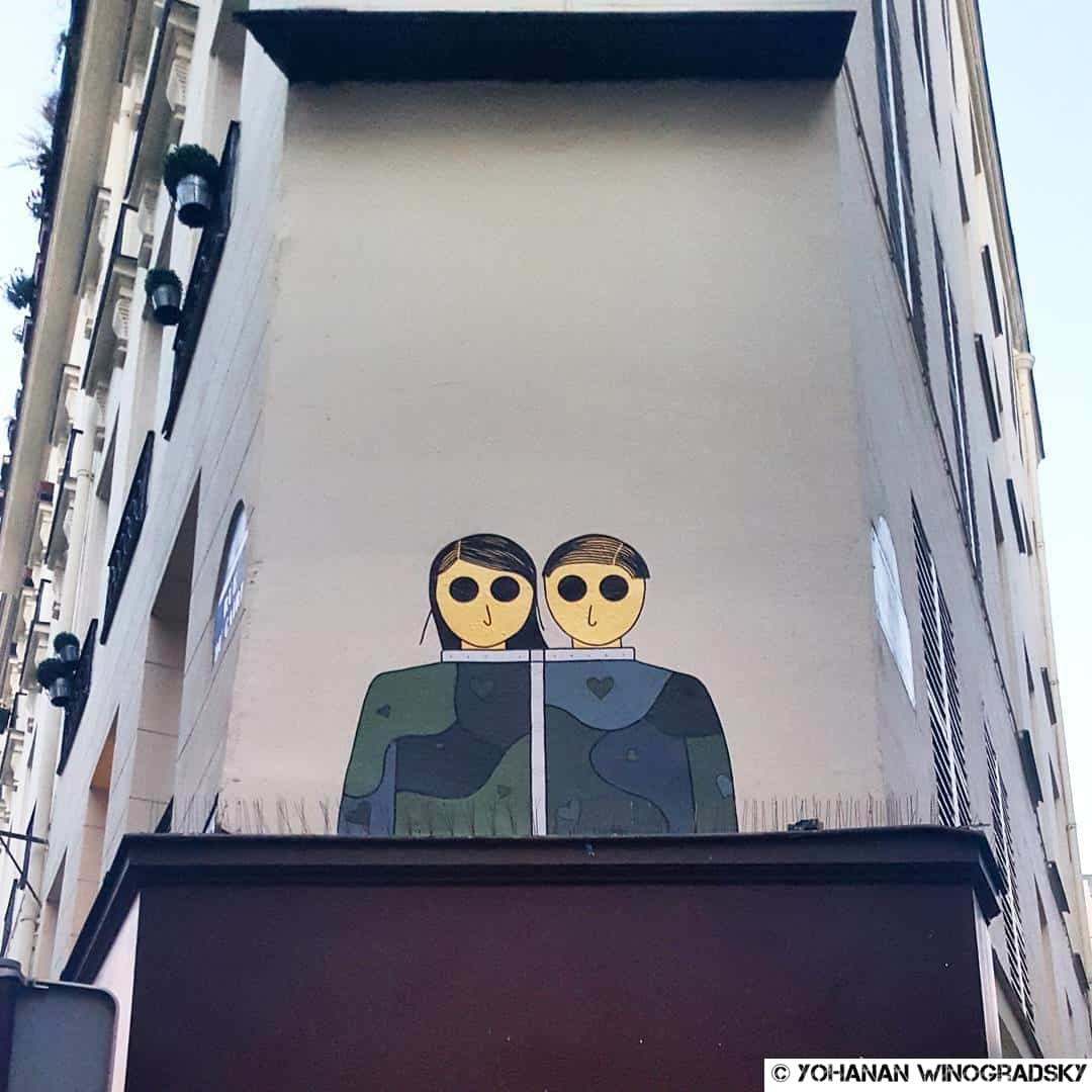streetart paris de kam & laurene collage couple