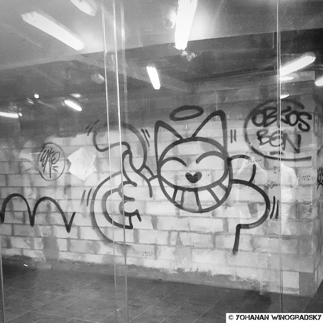 Le chat dans le RER – Street art par M. Chat, Paris