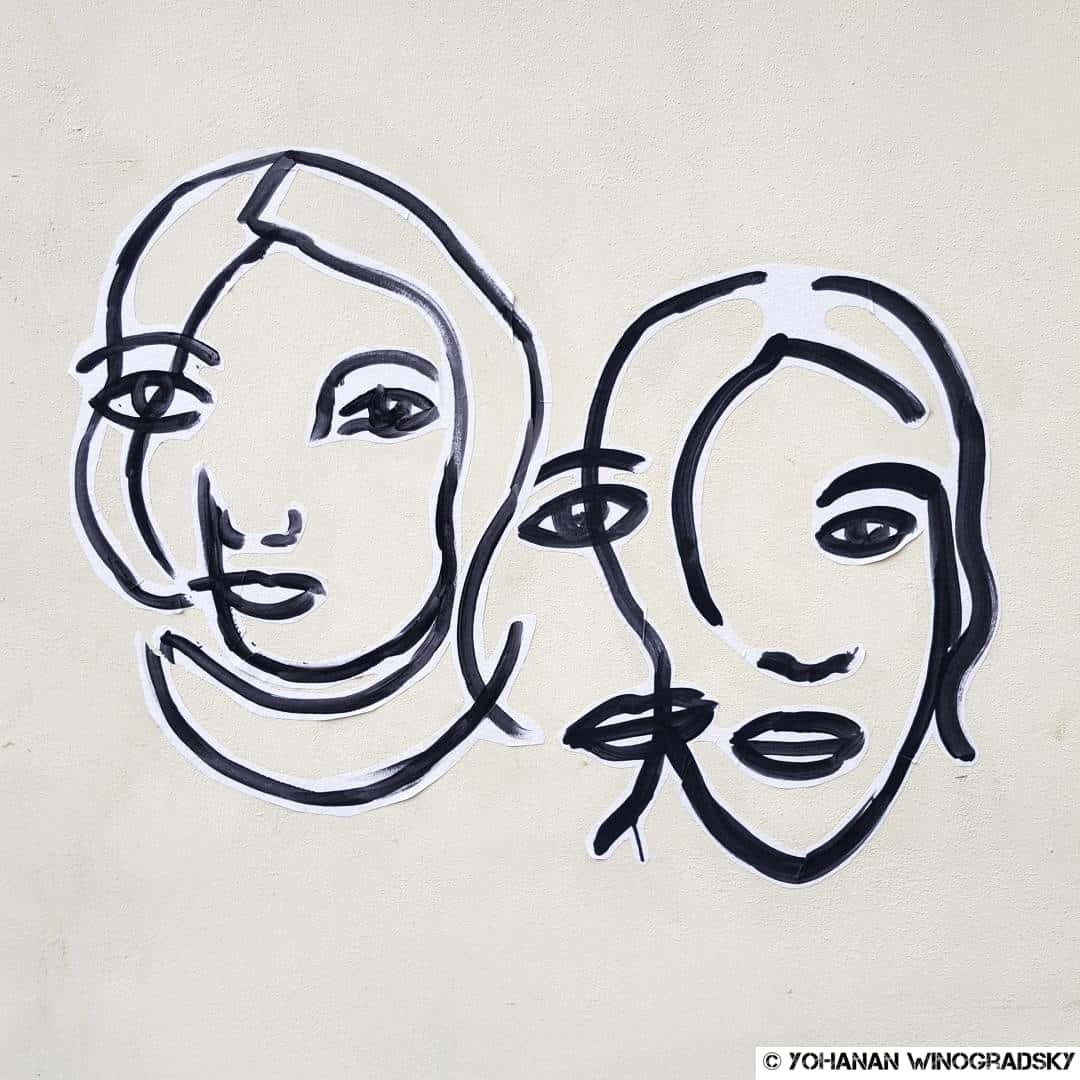 streetart paris poésie portraits en bandelettes de papier