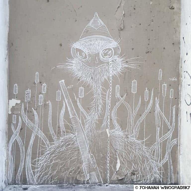 street art par matthieu à la craie autruche musée de la chasse