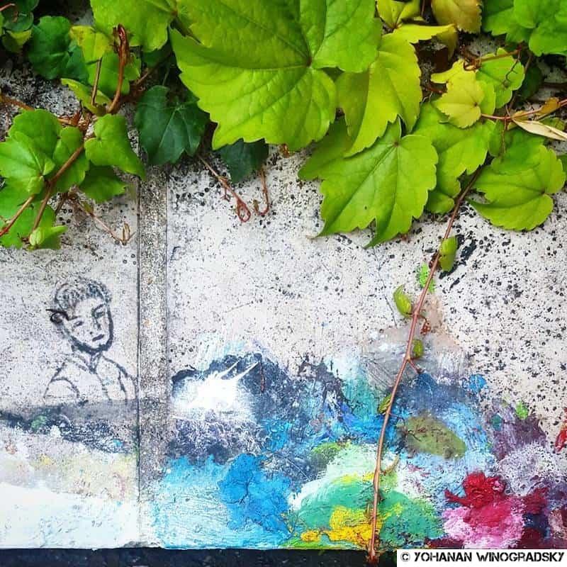 street art palette de peinture improvisée arc en ciel