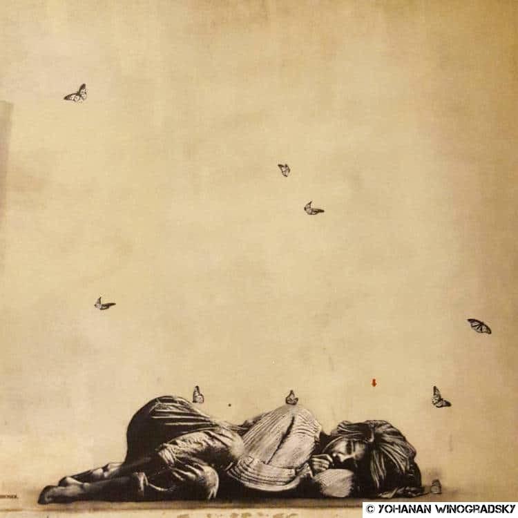 streetart paris jef aerosol butte aux cailles jeune fille entourée de papillons