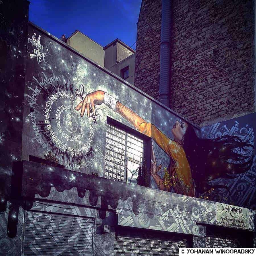 streetart à paris menilmontant collaboration alex & nezim la magicienne