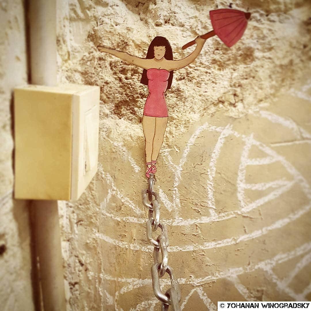 streetart paris au cabinet d'amateur par oakoak avec lignes de jordane saget