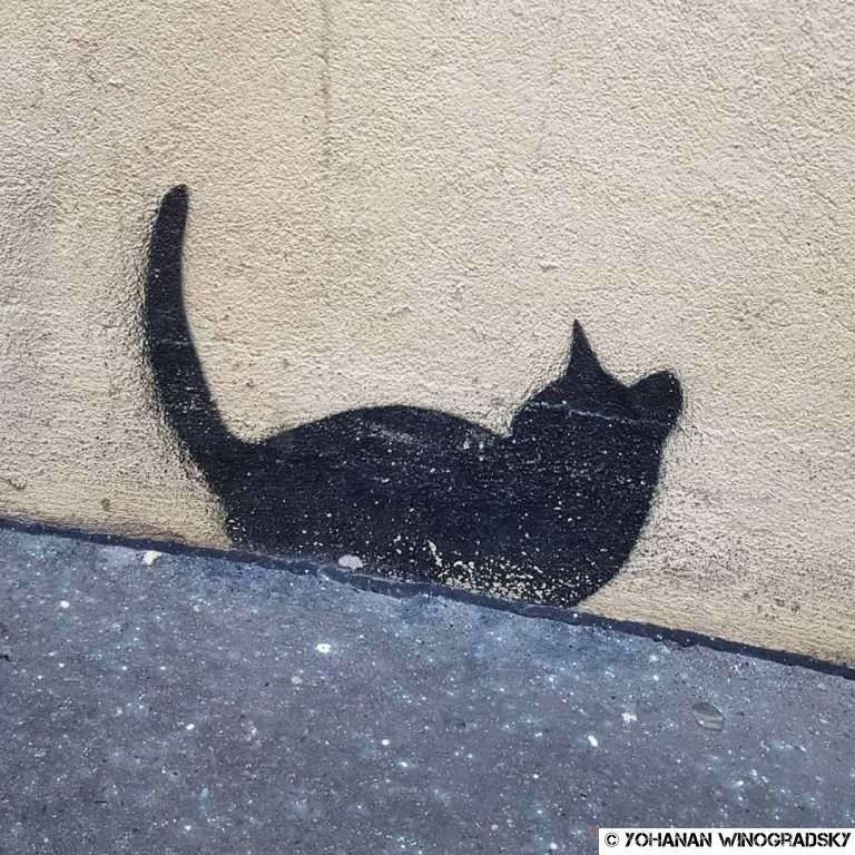 streetart paris pochoir de chat noir