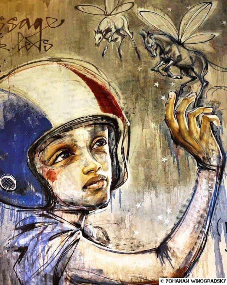 streetart paris par herakut rue rené goscinny message est pour les enfants
