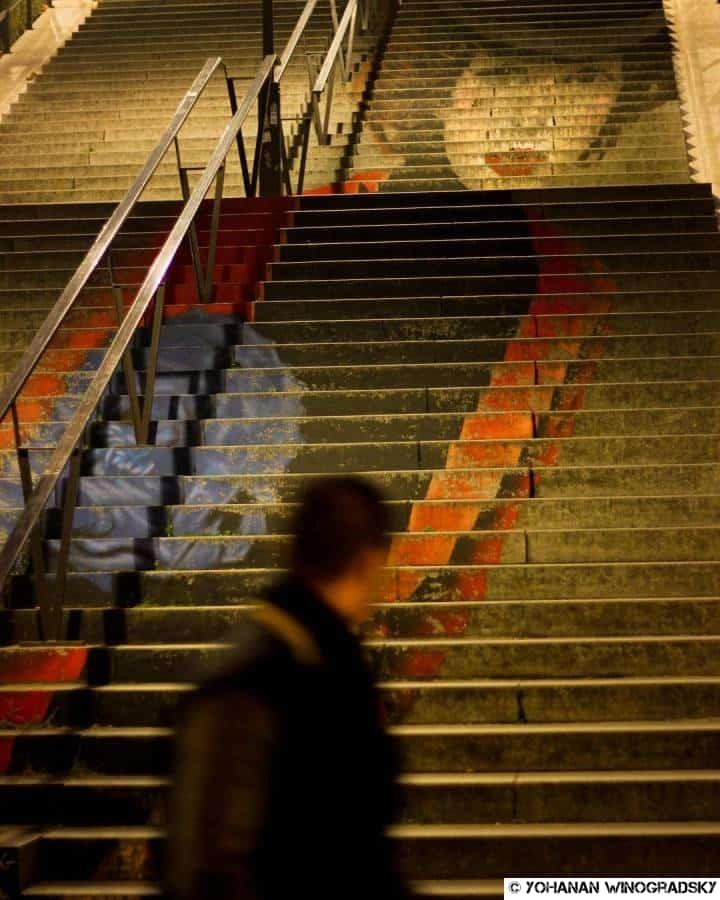 streetart par zag et sia escalier chevaleret la parisienne