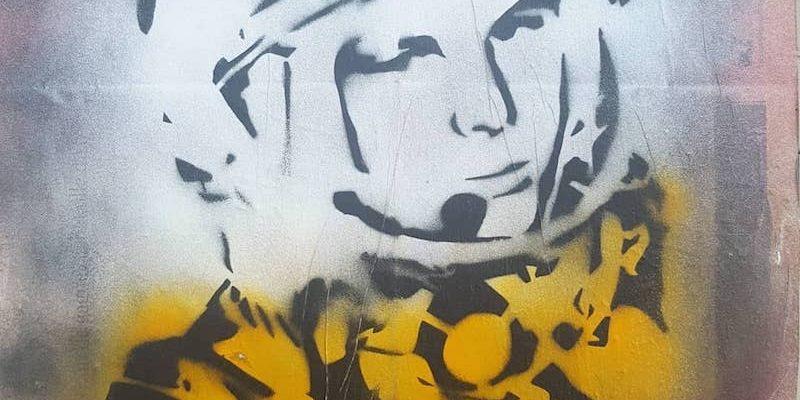 Youri Gagarine, le héros national soviétique, Streetart par Erudiorf au Lavo//Matik, Paris