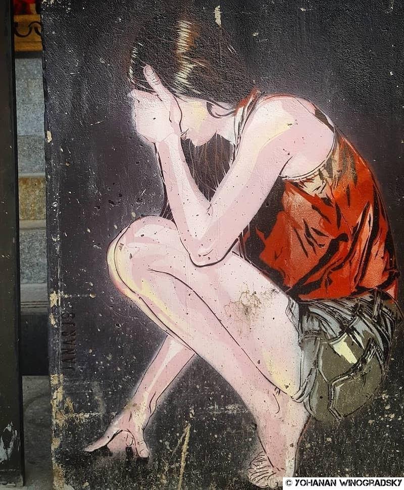 street art par jana & js dans les escaliers du lavomatik à paris
