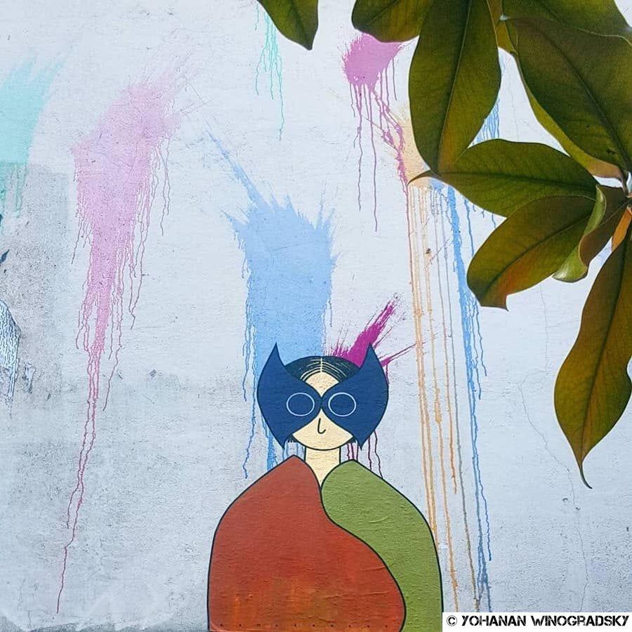 streetart par kam & laurene à paris rue menilmontant