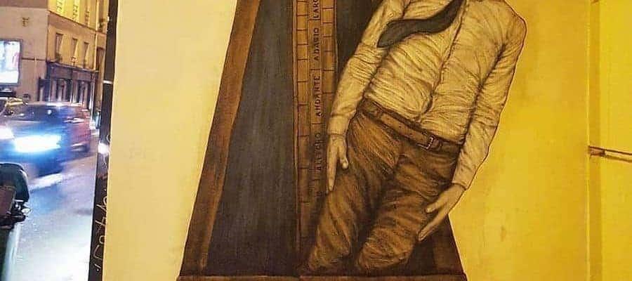 Le métronome humain – Streetart par Levalet, Paris