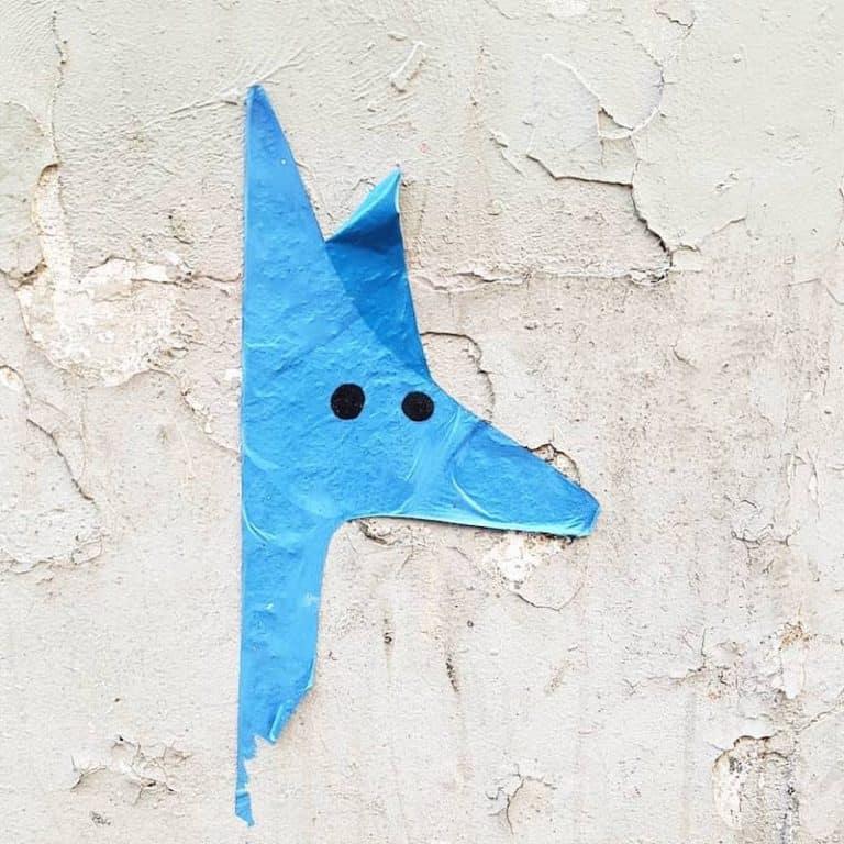 Le Renard Bleu & le Peintre – Collage rue Durantin, Paris