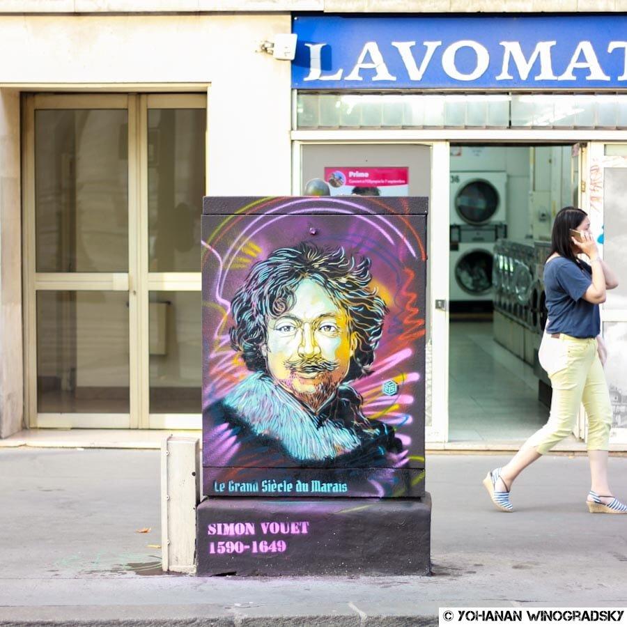 c215 le grand siècle du Marais paris street art simon vouet