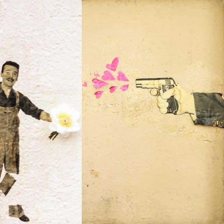 Lourdeur à bout portant – Street art par hello.klim, Paris